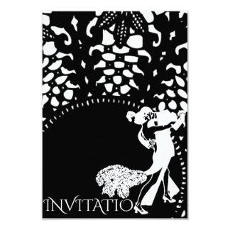 Preto branco de Nouveau da arte da dança do tango Convite 8.89 X 12.7cm