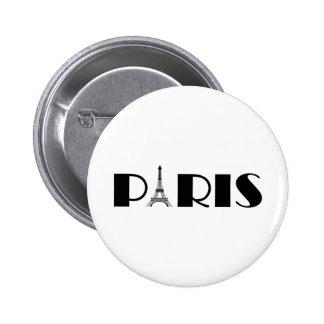 Preto & branco de Paris da torre Eiffel Bóton Redondo 5.08cm