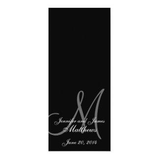 Preto & branco do monograma do programa da igreja convite 10.16 x 23.49cm