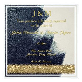 Preto, branco e convite do casamento do ouro