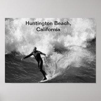 preto branco, Huntington Beach do surfista 5x7, Ca Pôster