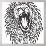 preto-branco-leão-vetor posters