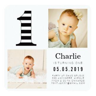 Preto & branco listra cartões com fotos do convite personalizados