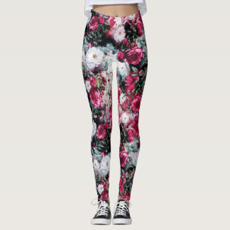 Preto branco malva cor-de-rosa floral dos rosas do leggings