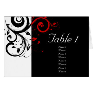 Preto + Cartões vermelhos reversos brancos da mesa