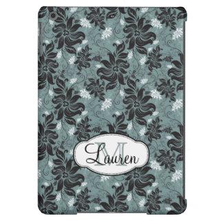 Preto, cerceta, monograma floral branco capa para iPad air