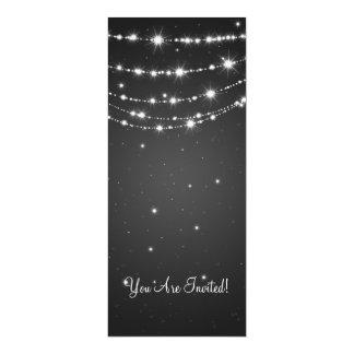 Preto Chain Sparkling do casamento elegante Convite 10.16 X 23.49cm