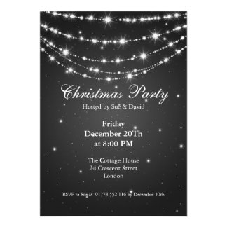 Preto Chain Sparkling elegante do convite de festa