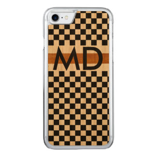 preto checkered com iniciais capa iPhone 7 carved