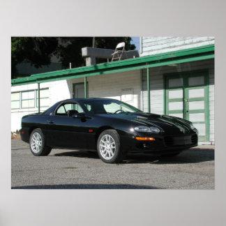 Preto Chevrolet Camaro 2001 Z28 SS Poster