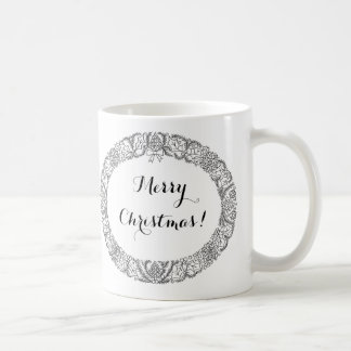 Preto chique na grinalda do White Christmas a Caneca De Café