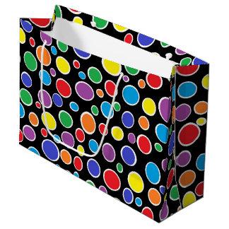 Preto colorido das bolinhas sacola para presentes grande