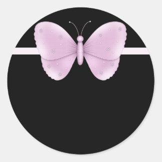 Preto com etiquetas roxas da borboleta adesivo em formato redondo