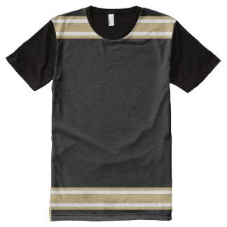 Preto com ouro e guarnição branca camiseta com impressão frontal completa