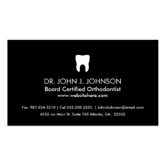 Preto contínuo profissional da odontologia cartão de visita