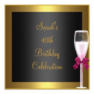 Preto cor-de-rosa do ouro de Champagne do Convite Quadrado 13.35 X 13.35cm