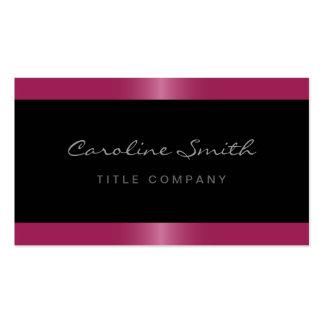 Preto cor-de-rosa fúcsia da beira do cetim à moda cartão de visita