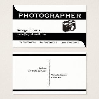 Preto da câmera do fotógrafo, moderno branco cartão de visitas