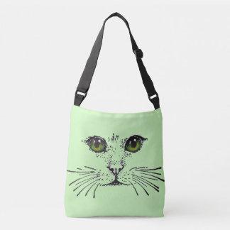 Preto da cara do gato que tira os olhos amarelos bolsas carteiro