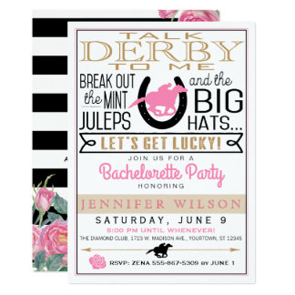 Preto da festa de solteira de Derby/ouro/rosas Convite 12.7 X 17.78cm