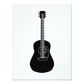 Preto da guitarra acústica convite 10.79 x 13.97cm