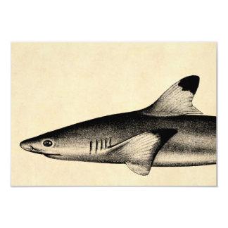 Preto da ilustração do tubarão do recife do convite 8.89 x 12.7cm