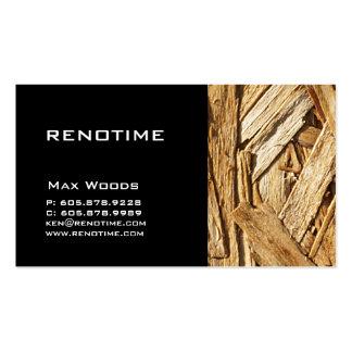 Preto da madeira do cartão de visita do contratant