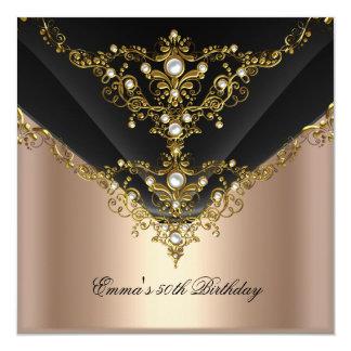 Preto da pérola do creme de café do ouro da festa convite quadrado 13.35 x 13.35cm
