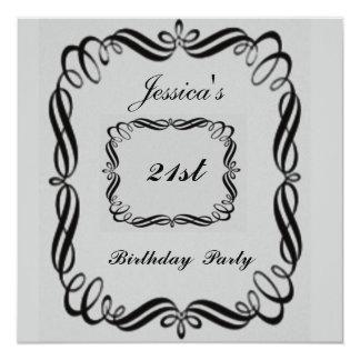 Preto da prata do convite de festas do aniversário