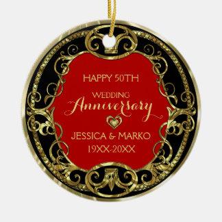 Preto de Borgonha & aniversário de casamento do Ornamento De Cerâmica Redondo