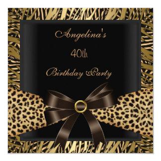 Preto de Brown do leopardo do ouro do partido de Convite Quadrado 13.35 X 13.35cm
