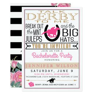 Preto de Derby Bachelorette/ouro/rosas cor-de-rosa Convite 12.7 X 17.78cm