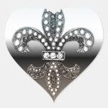 Preto de prata de Flor Nova Orleães da flor de lis Adesivo Coração