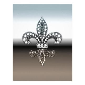 Preto de prata de Flor Nova Orleães da flor de lis Papel Timbrado
