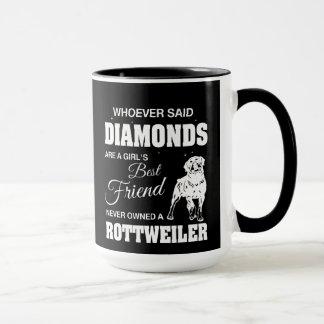 Preto de Rottweiler dos diamantes caneca combinado