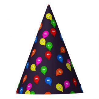 Preto de sorriso colorido dos balões chapéu de festa
