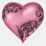 Preto de w do rosa do rolo do coração adesivo em forma de coração