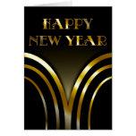 Preto do art deco e cartão do ano novo do ouro