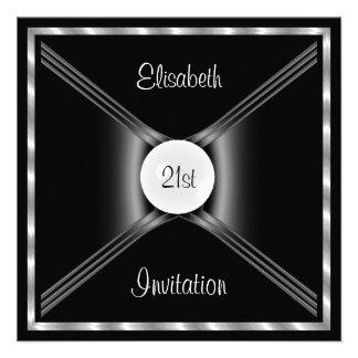 Preto do convite branco festa de aniversário
