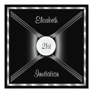 Preto do convite, branco, festa de aniversário