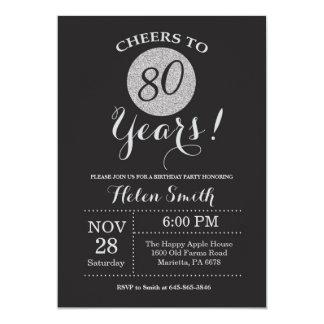 preto do convite do aniversário do 80 e brilho da