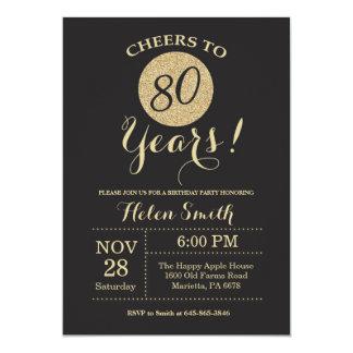preto do convite do aniversário do 80 e brilho do