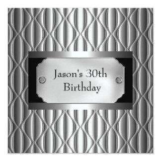 Preto do cromo do metal dos homens prata branca do convite quadrado 13.35 x 13.35cm