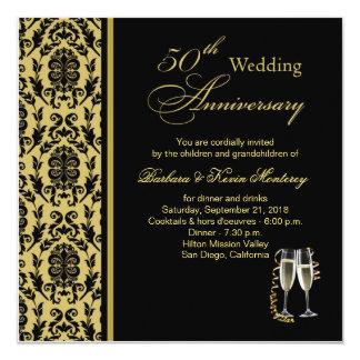 Preto do damasco no aniversário de casamento do convite quadrado 13.35 x 13.35cm