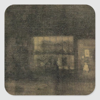 Preto do noturno e ouro - a loja de pano, Chelsea Adesivo Quadrado