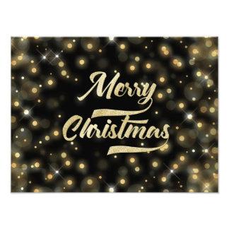 Preto do ouro de Bokeh do brilho do Feliz Natal Impressão De Foto