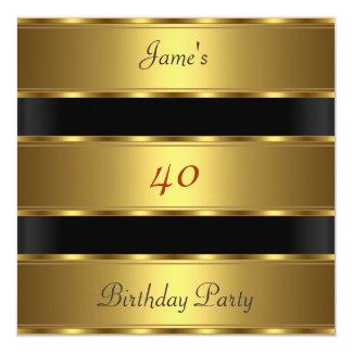 Preto do ouro do partido de aniversário de 40 anos convite quadrado 13.35 x 13.35cm