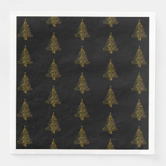 Preto do ouro do teste padrão da árvore do Feliz Guardanapo De Papel De Jantar
