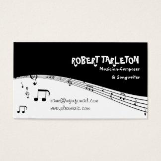 Preto do pentagram da música do músico, branco cartão de visitas