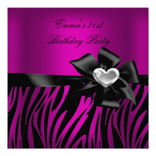 Preto do rosa da prata da zebra do partido de aniv convites personalizado